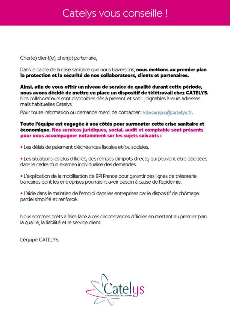 COMMUNIQUE – Catelys vous conseille !